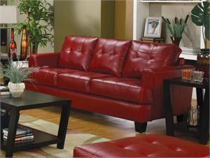 Red Leather Sofa - Samuel Collection by Coaster