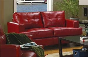 Red Leather Loveseat - Samuel Collection