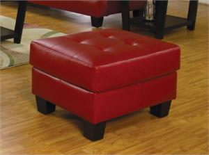 Red Leather Ottoman - Samuel Collection by Coaster