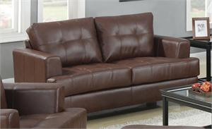Brown Leather Loveseat - Samuel Collection