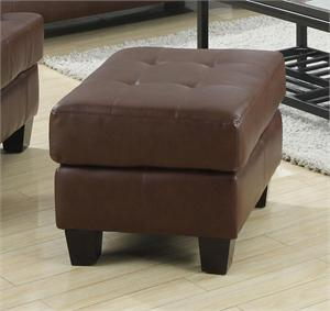 Brown Leather Ottoman - Samuel Collection by Coaster