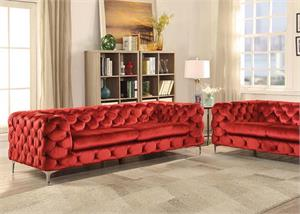 Adam Acme Red Velvet Sofa Collection,52795 acme,52796 acme