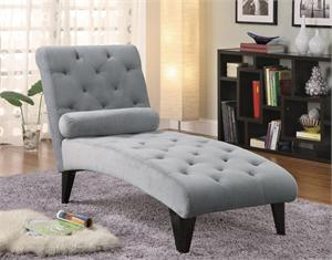 Gray Velour Chaise ,550067 by coaster