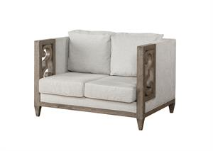 Artesia Collection Fabric & Salvaged Natural Finish Loveseat Acme 56091