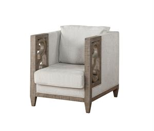Artesia Collection Fabric & Salvaged Natural Finish Chair Acme 56092