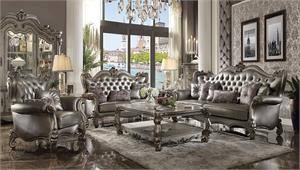 Versailles Silver Upholstered And Antique Platinum Finish Livingroom Set