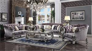 Versailles Velvet Upholstered and Antique Platinum Finish Sofa Set