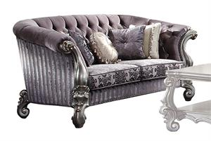 Versailles Velvet Upholstered and Antique Platinum Finish Loveseat Item 56826