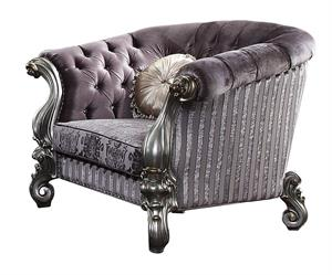 Versailles Velvet Upholstered and Antique Platinum Finish Chair 56827