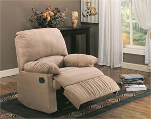 Light Brown Microfiber Recliner Chair Item 600264 by Coaster