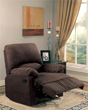 Chocolate Microfiber Recliner Chair Item 600264 by Coaster
