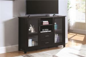 Trista Black TV Stand With Glass Doors Coaster 701045,701045 coaster,701045 scott living