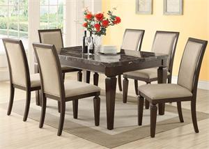 Agatha Black Marble Top Dining Set,70485 acme,70487 acme,real marble table top