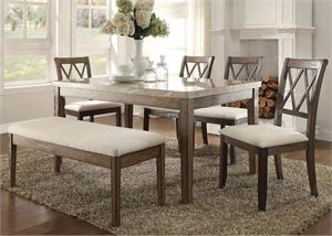 Claudia Real Marble Dining Set,71715 acme,71717 acme,71718 acme