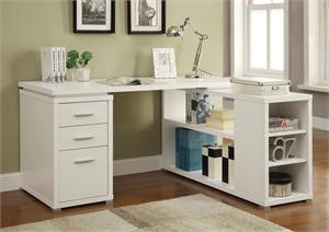 Yvette L-shape Office Desk White by Coaster 800516