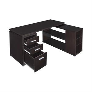 Yvette L-shape Office Desk Cappuccino by Coaster 800517
