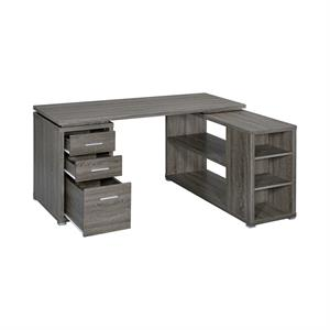 Yvette L-shape Office Desk Weathered Grey by Coaster 800518