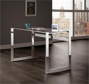 Hader Glass Top Writing Desk Chrome by Coaster 800746