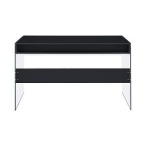 Dobrev 2-drawer Writing Desk Glossy Black and Clear Glass by Coaster 800830