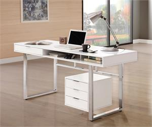 Whitman 4-drawer Writing Desk Glossy White by Coaster 800897