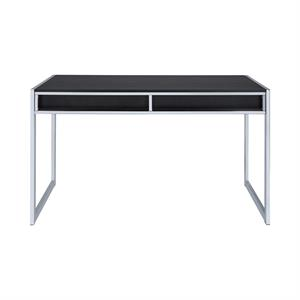 Wallice 2-drawer Writing Desk Dark Charcoal and Chrome by Coaster 801352