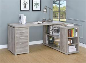 Yvette L-shape Office Desk Grey Driftwood by Coaster 801516