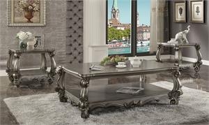 Versailles Antique Platinum Finish Coffee Table Set