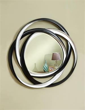 Silver round circular designed mirror,by coaster