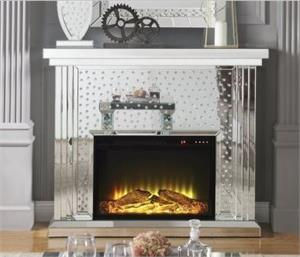 Nysa Fireplace Acme 90204,90204 acme,mirrored fireplace