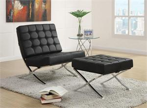 Black Accent Chair and Ottoman by Coaster