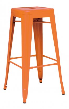 Metropolis Orange Metal Counter Stool by New Pacific Direct