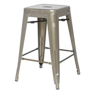Metropolis Zinc Glossy Metal Counter Stool by New Pacific Direct