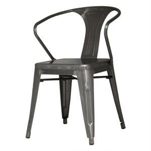 Metropolis Metal Arm Chair Gun Metal Color Item 938731-GM