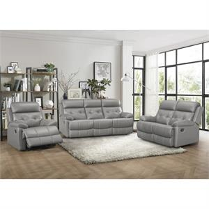 Lambent Gray Top Grain Leather Match Recliner Sofa Collection,9529gry recliner, 9529gry homelegance
