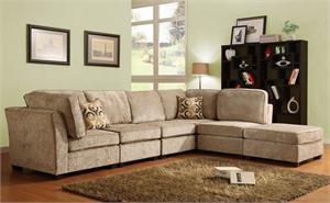 Modular sectional in chenille color Burke Beige Modular Collection