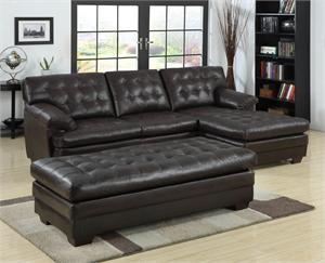 Brooks Brown Leather Sectional and ottoman with tuffted back