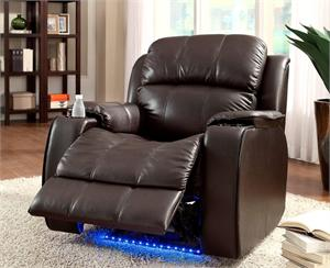 Brown Power Reclining Chair with Massage ,LED and Cup Cooler Jimmy Collection,9745BRW-1 homelegance