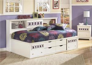 White Twin Bedside Storage Bed Zayley Collection,b131 ashely