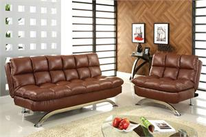 Aristo Futon Sofa and Leatherette Chair