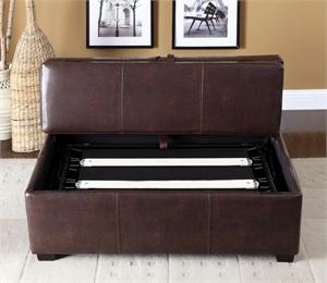 Open Lid Ottoman in  Brown with Pull Out Bed itemCM4703BRO by Import Direct