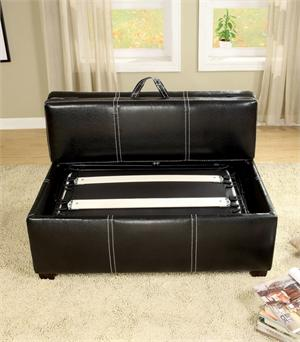 Open Lid - Ottoman in Black with Pull Out Bed Item CM4703 by Import Direct