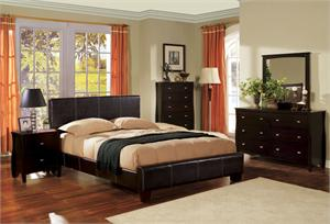 Uptown Espresso Platform Leather Bedroom Set