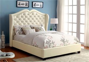 Monroe Ivory Platform Bed CM7016,CM7016IV furniture of america,CM7016IV monroe,ivory platform bed,high headboard bed