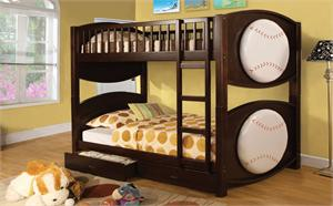 Baseball Theme Twin Over Twin Bunk Bed with 2 Drawers item CM-BK065BSBL-T
