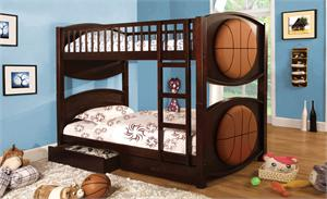 Basketball Theme Twin Over Twin Bunk Bed with 2 Drawers item CM-BK065BSKT-T