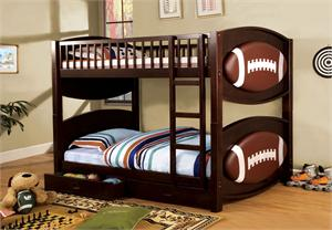 Football Theme Twin Over Twin Bunk Bed with 2 Drawers item CM-BK065FBLL-T
