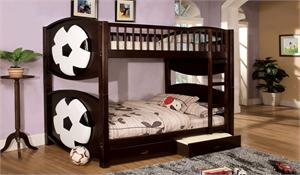 Soccer Theme Twin Over Twin Bunk Bed with 2 Drawers item CM-BK065SCCR-T