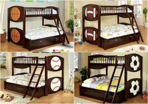 Sport Theme Twin Over Full Bunk Bed - Olympic V Collection