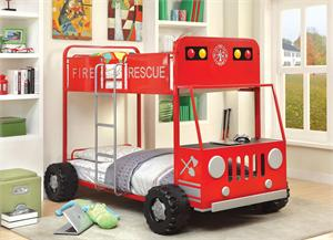 Twin/Twin Fire Rescuer Bunk Bed ,fire truck bunk bed,CM-BK1043 furniture of america,CM-BK1043 import direct,CM-BK1043 bunk bed