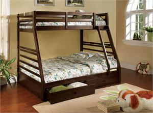 California III Twin/Full Bunk Bed with 2 Drawers CM-BK588EX, dark walnut bunk bed,cm-bk588ex bunk bed,cm-bk588ex import direct